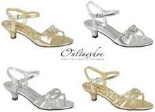 GIRLS LOW HEEL WEDDING BRIDESMAID PARTY GOLD SILVER DIAMANTE SHOES SANDALS 8-2