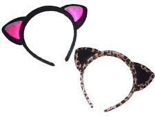 Soft cat ears on covered aliceband,available in leopard print or black + pink