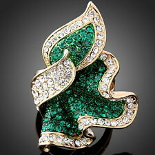 ARINNA Green Feather shape Swarovski Crystal 18k gold GP cocktail Finger Ring