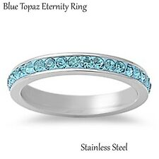 Blue Topaz Silver Stainless Steel Eternity Band Ring