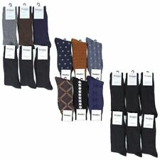 6 Pairs Lot Mens Dress Socks Solid Print Pattern Fashion Adult Crew Black Colors