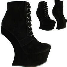 Womens Ladies Sexy Black High No Heel Less Lace Up Platform Ankle Boots Shoes