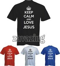 KEEP CALM AND LOVE JESUS MAN T-SHIRT CHURCH CHRISTIAN BIBLE CROSS PRESENT GIFT