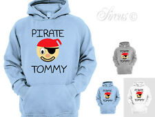 KIDS PERSONALISED PIRATE FACE DESIGNER HOODY HOODIES ALL AGES 1 - 12 YRS