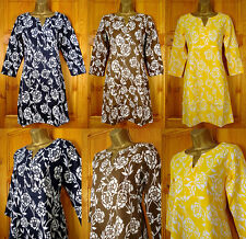 NEW EX BODEN NAVY BLUE BROWN YELLOW FLORAL TUNIC DRESS SHIRT TOP UK SIZE 8 - 18