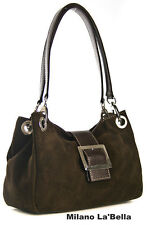 CHOCOLATE BROWN ITALIAN DESIGN REAL GENUINE SUEDE LEATHER BUCKLE TWIN STRAP BAG