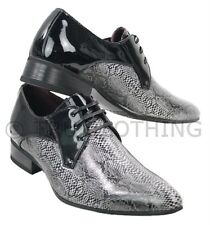 Mens Black Snake Skin Patent Shiny Leather Shoes Italian Design Laced