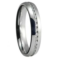 4mm Stainless Steel Eternity Cubic Zirconia Unisex Ring Size Selectable 5 or 6