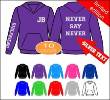 JUSTIN BIEBER HOODIE WITH GIRLFRIEND NEVER SAY NEVER SILVER VARSITY TEXT JB09
