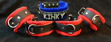 5 pc leather restraint set wrist cuffs Customize color & any word on collar