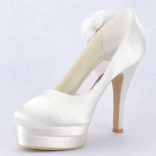 Fashion Silk platform pump Heel Bride Wedding dress Shoes White prom women shoes