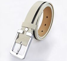 Brand New Genuine Leather Classic Mens Belt Fashion White /Black /Gray All Size