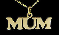 18ct GOLD PLATED ON STERLING SILVER MUM CHAIN NECKLACE CHARM MOTHERS XMAS GIFT