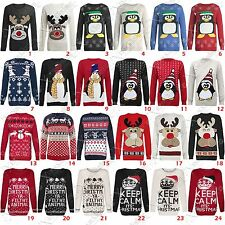 WOMENS LADIES XMAS JUMPER SNOWMAN WINTER RETRO SWEATER REINDEER FAIRISLE PENGUIN