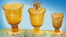 Romanian Vigil Oil Candle Lamp Standing Leg With Cross Carvings Yellow Glass
