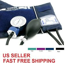 Adult Blood Pressure BP Cuff Set Aneroid Sphygmomanometer + D-Ring -Select Color
