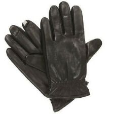 ISOTONER Men's smarTouch Stretch Leather Spandex Gloves BLACK Fleece lined