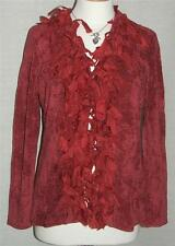NEW PRINCIPLES GORGEOUS RED LONG SLEEVE CARDIGAN with SILK TRIMS 10 & 12