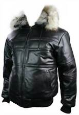 Mens Real Leather Jacket Puffer Fur Collar Removable Hood Black Bomber Padded Li