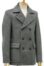 Maison Martin Margiela paris Men's reefer peacoat Grey Wool Blend Coat 52 xl