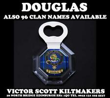 DOUGLAS CLAN CRESTED TARTAN MAGNETIC BOTTLE OPENER 96 DIFFERENT CLAN NAMES