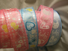 """38mm (1.5"""") SATIN WIRED RIBBON BABY PRINTS - 2 DESIGNS, BLUE or PINK"""
