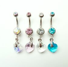 Stainless Steel Crystal Prism Heart Dangle Navel Belly Bar ~ Choose Colour ~