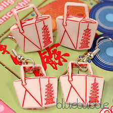 FUNKY CHINESE STYLE TAKE AWAY EARRINGS CUTE KITSCH FAST FOOD RED WHITE UNUSUAL