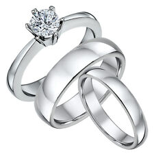 Titanium Solitaire Engagement Ring & His & Hers Court Wedding Bands 4&6mm