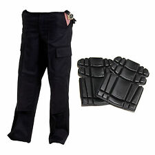 2 X  Pairs Mens Cargo Combat  work Trousers Black with 1 pair of FREE KNEEPADS