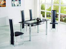 ROVIGO LARGE GLASS CHROME DINING ROOM TABLE AND 6 CHAIRS SET -135 cm- IJ601-818L