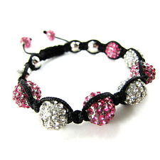 ICED OUT DISCO BALL HIP HOP MACRAME CZ PAVE BLING BEADED BRACELET