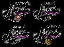 Custom Name - Sports Mom Banner Tail - Rhinestone Iron on Transfer Hot Fix Bling