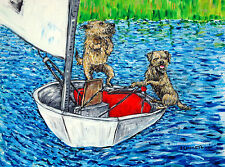 BORDER terrier dog art PRINT prints boats sailing impressionism animals gift new