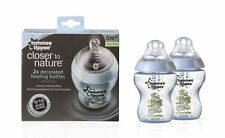 NEW TOMMEE TIPPEE CLOSER TO NATURE EASIVENT 260ML BOTTLES PINK/BLUE X 2 BPA FREE