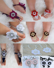 Cute Handmade Cotton Knit Flowers Barefoot Sandals Baby Photograph New 1-5 Year