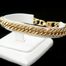 """ALL SIZES 7""""-10.5"""" 8.5mm DOUBLE CURB Link 24kt Gold Layered Bracelet + LIFE GUAR"""