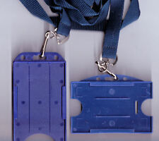 100 ID Badge Card Rigid Holders & 15mm Lanyards 10 Colours Available FREE UK P&P
