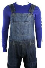 Mens Dungarees Jeans Dark Blue Stone Wash Turn Up Jeans