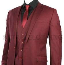 Mens Slim Fit Maroon Wine Burgundy 3 Piece Work Occasional or Wedding Party Suit