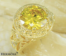 Victory Hollow Golden & White Sapphire 925 Sterling Silver & GP18K Gold Ring s.7