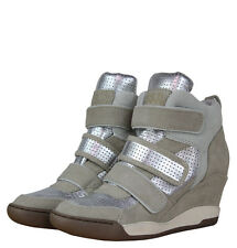 Ash 93615 Alex Bis Womens Wedge Hi Top Trainers Clay/Silver/Marble