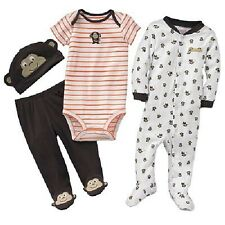 New Carter's 4 Piece Layette Set Happy Monkey NWT Newborn 3m 6m 9m Sleep n Play