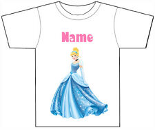 PERSONALISED CINDERELLA T-SHIRT PRINTED WITH ANY CHILDS NAME GIRLS/BOYS