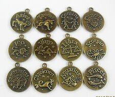 Optional Retro Bronze Plated 12 Constellations Picture Frame Pendant Charm