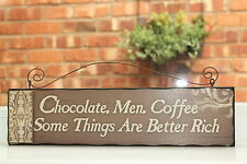 CHOCOLATE MEN COFFE WALL SIGN PLAQUE LADIES HOME GIFT IDEA