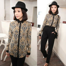 Leisure Vintage Totem Print Blouse Shirt Top Long Sleeve Womens Peacock Feather