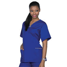 Medical Nursing ACTIVE UNIFORMS Contrast SCALLOP Scrubs Sets XS S M L XL Women's