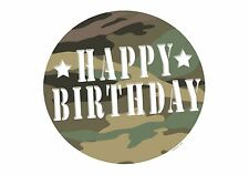 CAMOUFLAGE BIRTHDAY EDIBLE IMAGE CAKE/CUPCAKE/COOKIE TOPPER! FREE SHIPPING! POW!