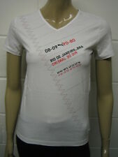 Womens Puma V Neck T-Shirt Top White - 08 - 09 Print Size 8 to 14 Ladies A43